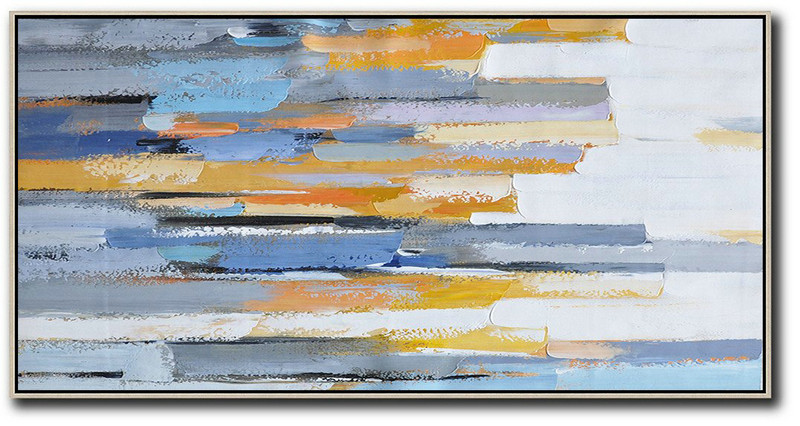 Abstract Painting Extra Large Canvas Art,Horizontal Palette Knife Contemporary Art,Acrylic Painting Large Wall Art,White,Blue,Orange,Yellow.etc
